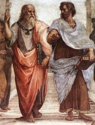 Plato and Aristotle in The School of Athens fresco, by Raphael. Plato is pointing heavenwards to the sky, and Aristotle is gesturing to the world.